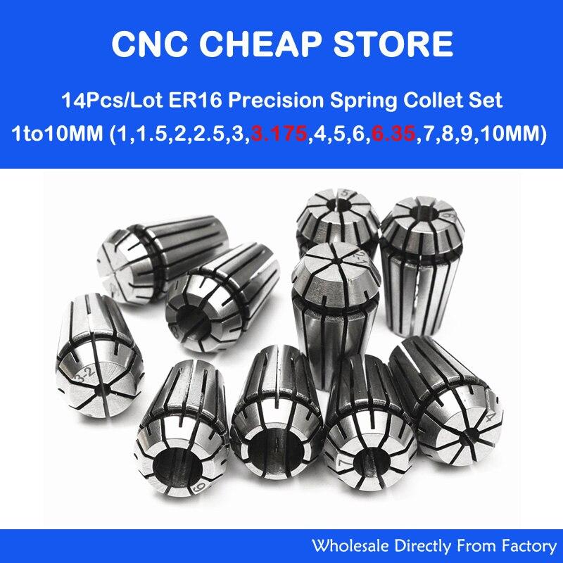 14 Uds ER16 portabrocas cnc abrazadera husillo torno herramienta soporte Motor eje 1-10MM CNC enrutador grabado fresadora madera espuma máquina