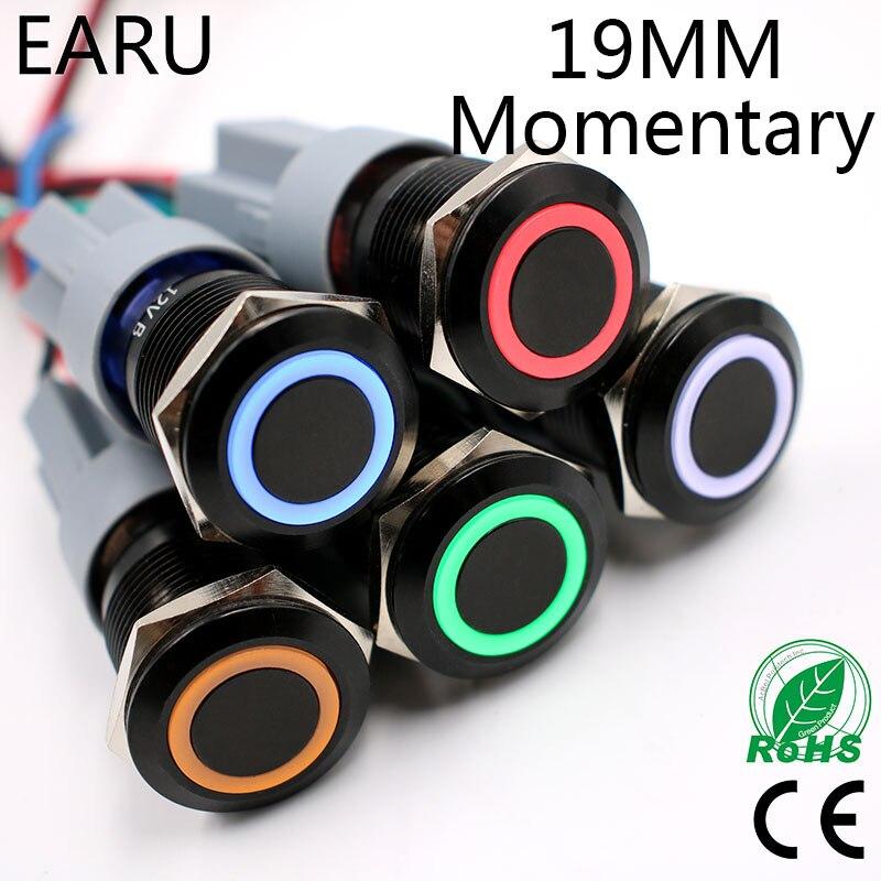 19mm alúmina negro Body Press interruptor de botón de metal impermeable reinicio momentáneo LED luz iluminada PC potencia 5V 12V 24V 220V