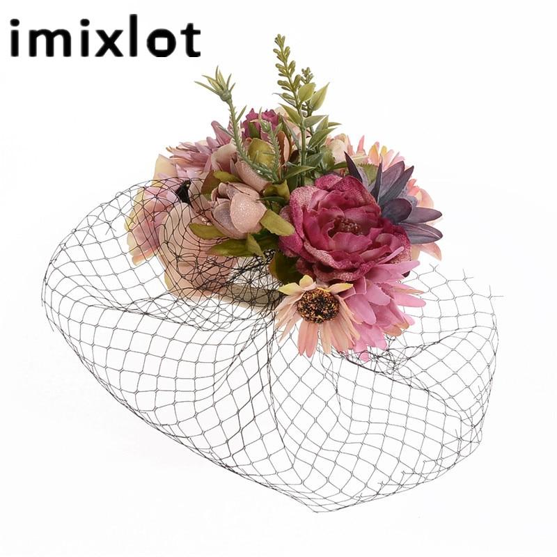 Retro Bride Hat Wedding Banquet Headwear Veil Fabric Flower Feather Headdress Hairpin Gauze Cover The Face