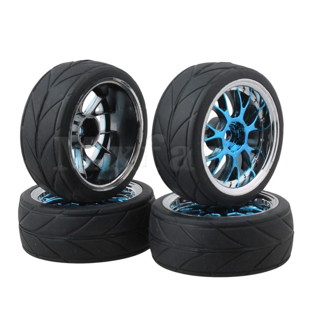 Mxfans 110 on-road carro de corrida azul y forma hub roda aro seta grãos pneus pacote de 4