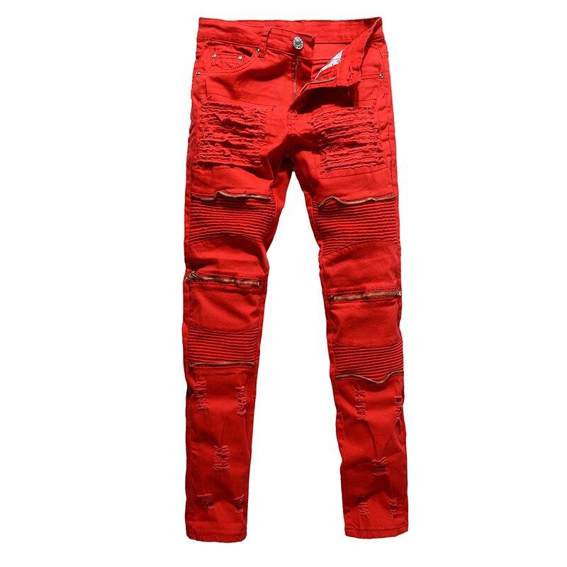 Men Jean Pencil Pants Long Trouser Pants Casual Fashion Hip Hop Denim Street dress Washed High-end Youth Hole Men MOOWNUC MWC