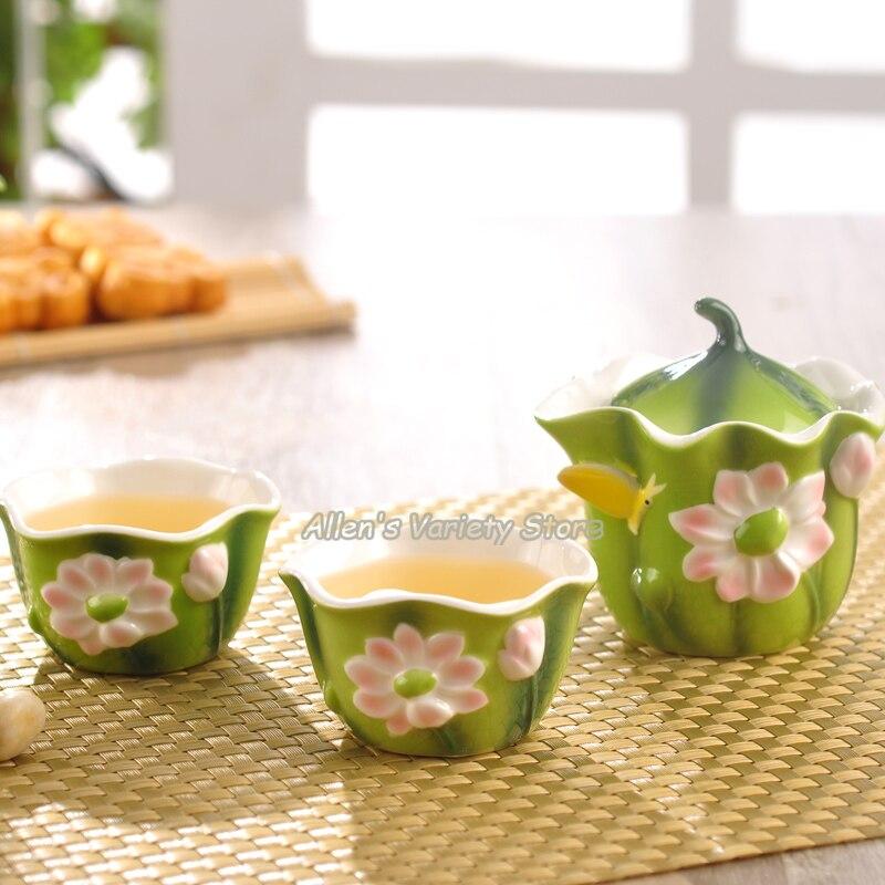 Juegos de té de loto de porcelana esmaltada, tetera, agarrador de mano, taza de té, Gaiwan, juego de té de viaje, taza de té, tetera, tazas
