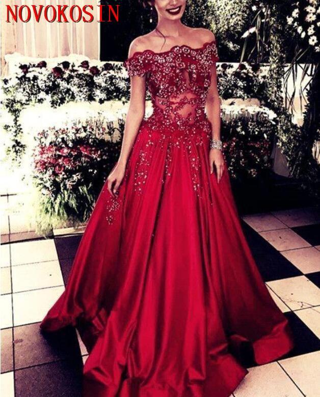Épaule dénudée appliques perles voir à travers longue robe de bal 2019 rouge une ligne arabe partie formelle robe de soirée robe de soirée