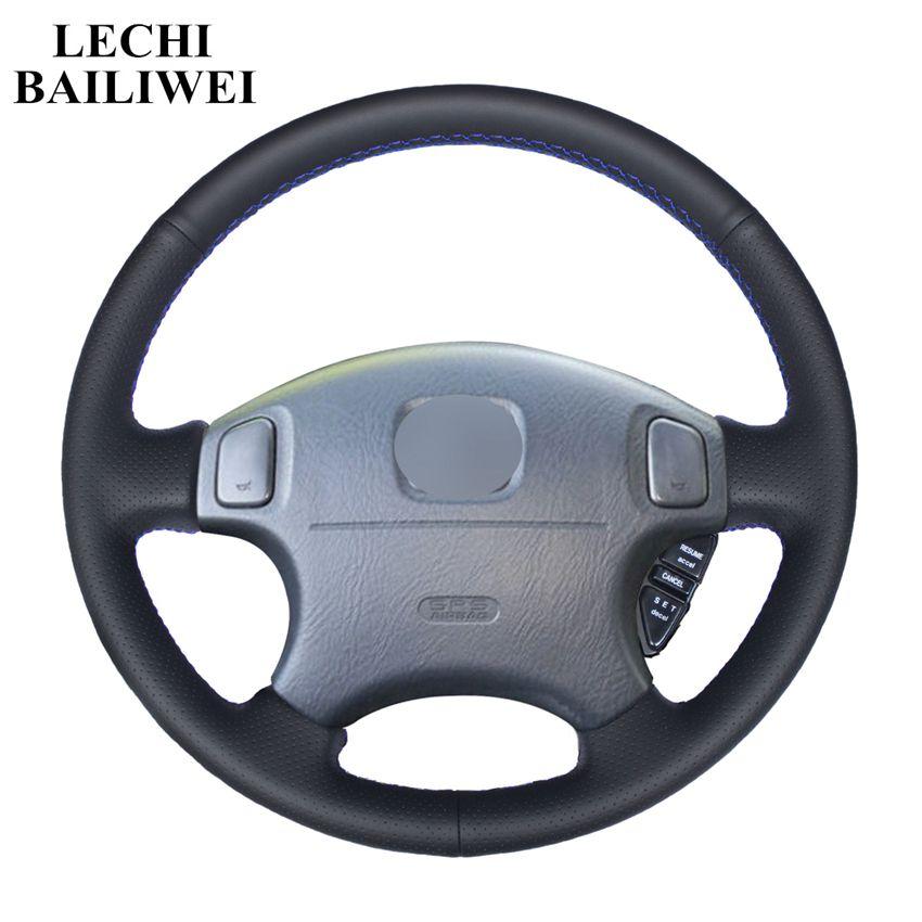 Housse de volant de voiture en cuir artificiel noir pour Honda CRV CR-V 1997-2001Accord 6 1998-2002 Odyssey 1998-2001 prélude