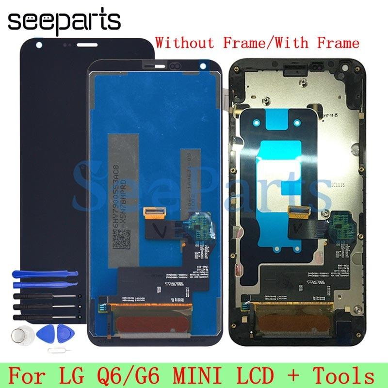 "100% probado 5,5 ""para LG Q6 LCD Display MONTAJE DE digitalizador con pantalla táctil con reemplazo de marco para LG Q6 G6 mini LCD + herramientas"