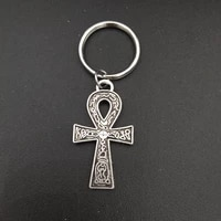 egypt egyptian ankh cross charm keychain stainless steel metal keyring fashion unisex jewelry accessories