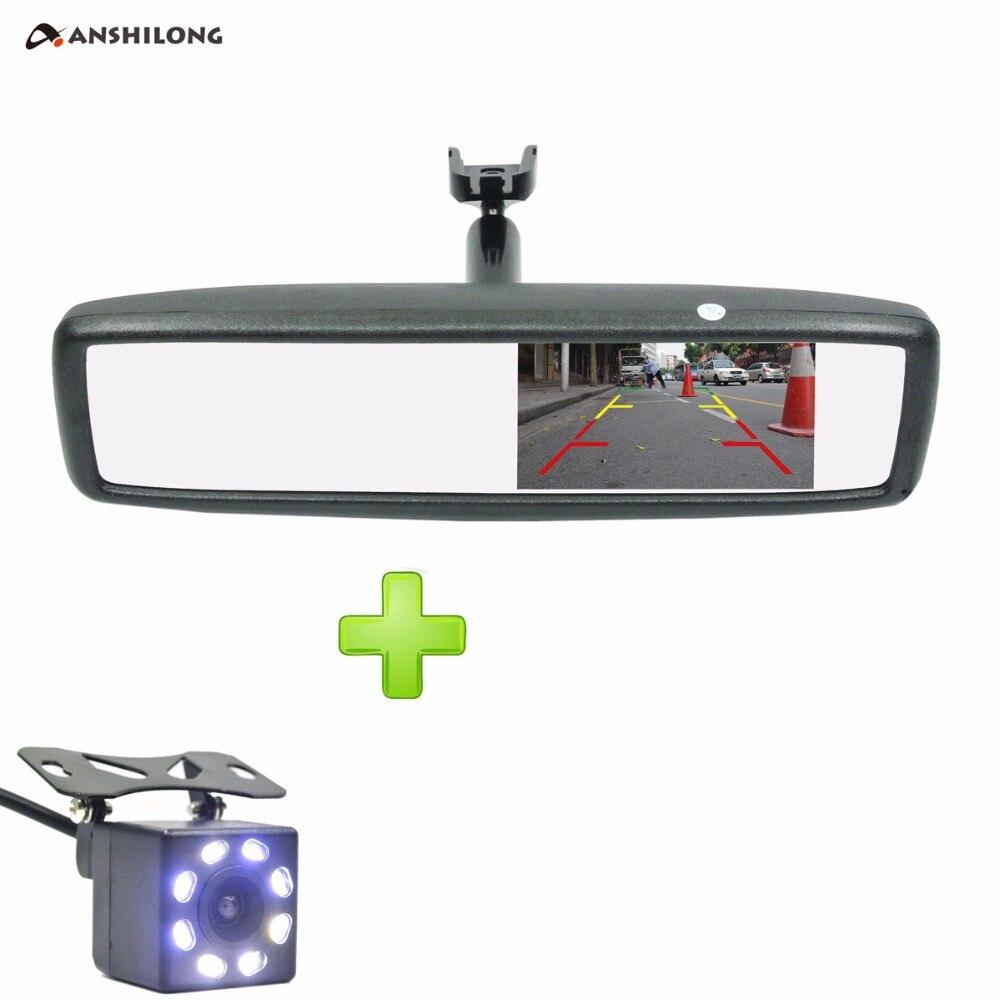 "ANSHILONG 4,3 ""TFT-LCD espejo de Vista trasera especial Monitor de coche con soporte + CCD HD Visión Nocturna cámara de respaldo de visión trasera"
