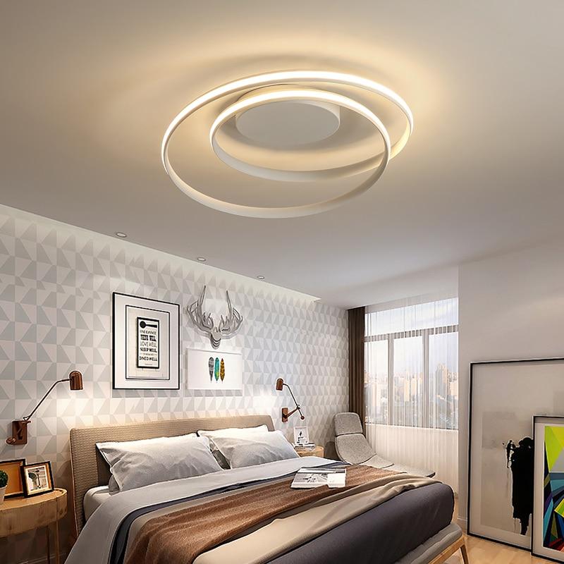 مصباح سقف Led بتصميم حديث ، إضاءة داخلية ، إضاءة سقف زخرفية ، متوفرة باللونين الأسود والأبيض ، مثالية لغرفة المعيشة أو غرفة النوم.