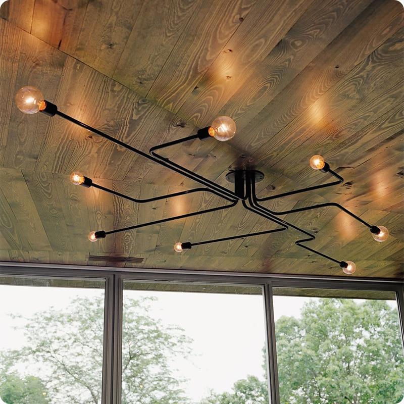 Hierro forjado 4 cabezas 6 cabezas 8 cabezas múltiples varilla techo Domo lámpara personalidad creativa retro nostalgia Café bar luz de techo