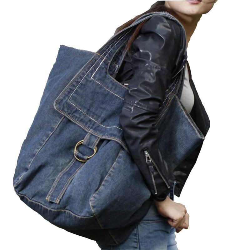 Женская джинсовая сумка в ковбойском стиле на молнии, Повседневная однотонная сумка большого объема, 2019