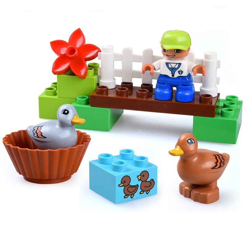 Образовательная модель, 13 шт., большие строительные блоки «сделай сам», комплекты для животных, ферма с утками, детские игрушки, совместимые с Duploe