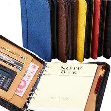 Gestionnaire spirale en cuir PU fermeture à glissière journaux classeur avec calculatrice porte-stylo portefeuille organisateur planificateur b5 a5 a6