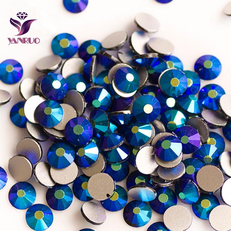 YANRUO Jet AB (280 AB) NO CALIENTE arreglar piedras Flatback cristal cuentas de vidrio DIY pegamento en el cinturón vestidos