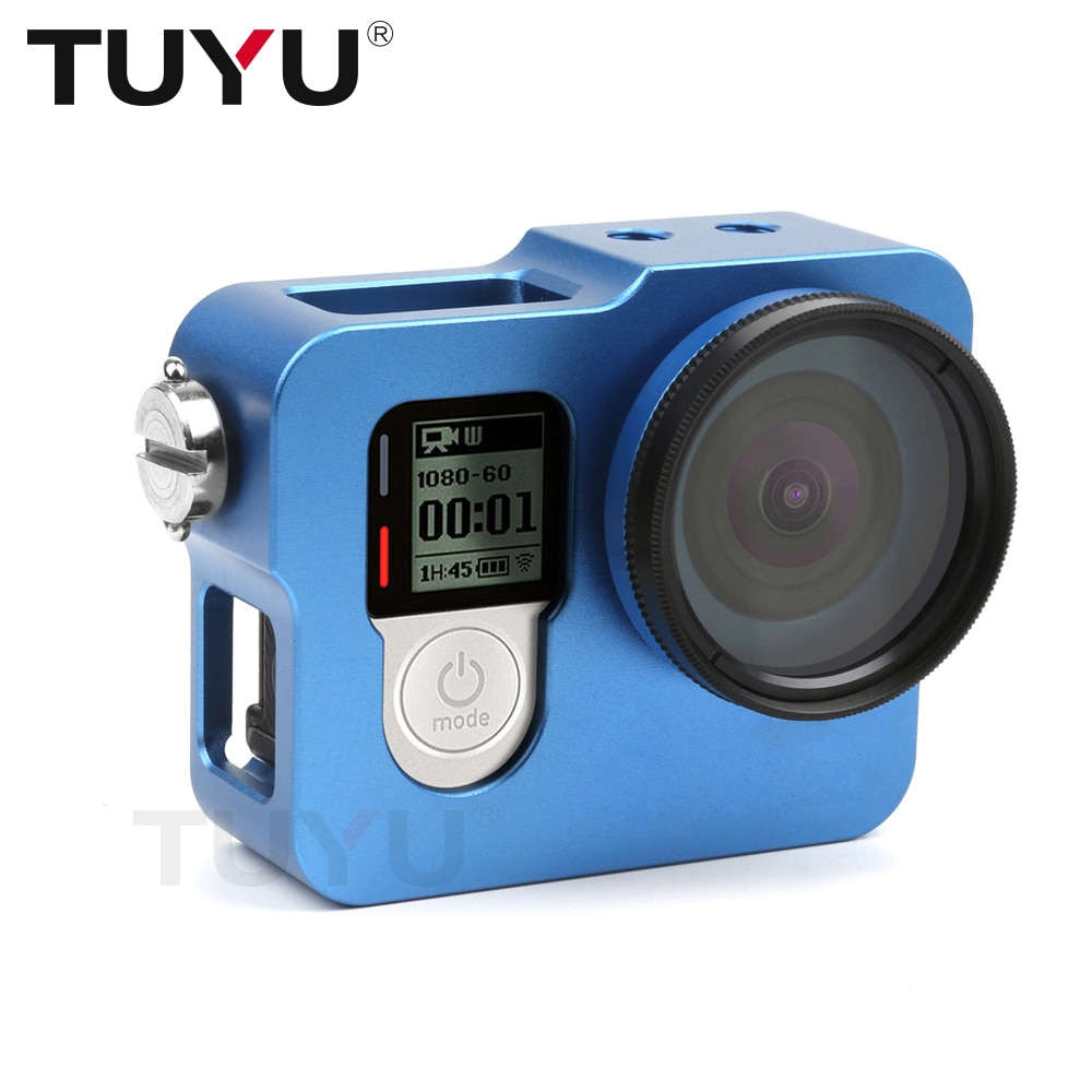 TUYU Aluminium Legierung Robuste Käfig Schutzhülle für EKEN H8R H5S H6S H9r Plus V50 GoPro Hero 4 3 + kamera Mit Gehen Pro UV Objektiv Kappe