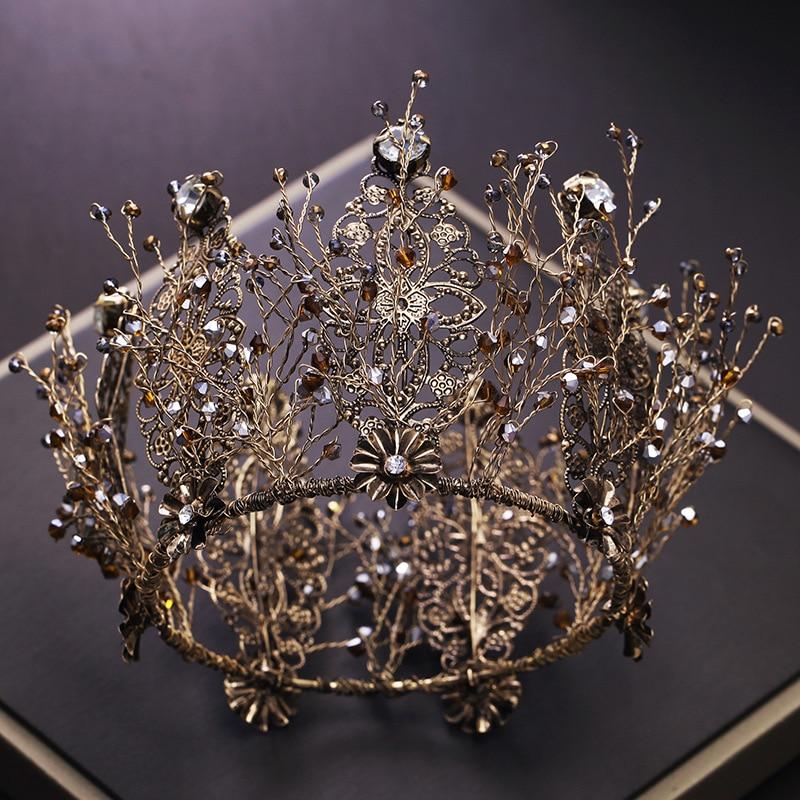 bride retro black crystal crown queen round tiara brides wedding jewelry hair accessories
