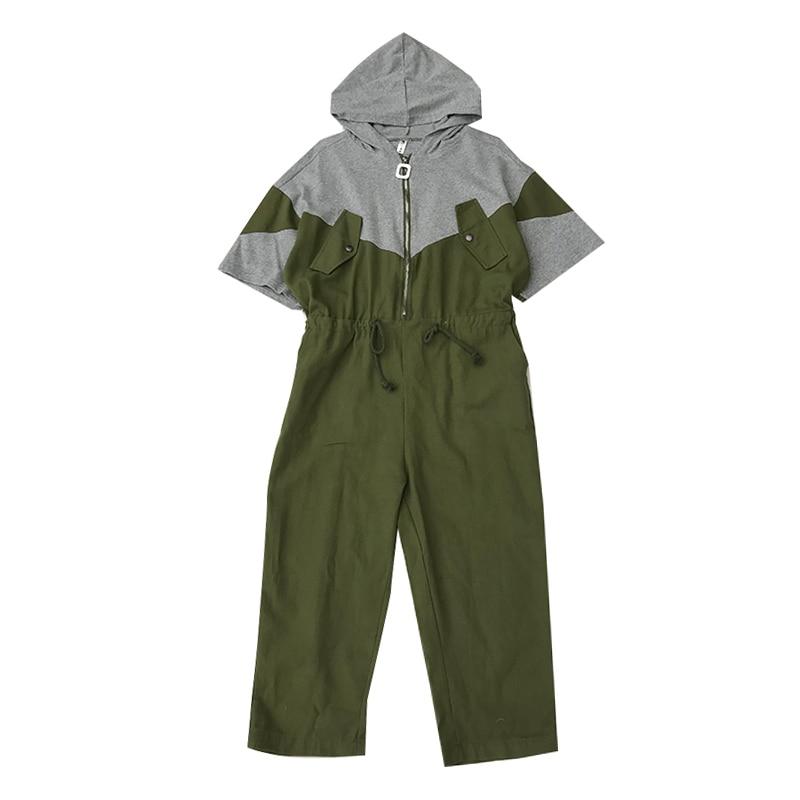 Tal vez U ArmyGreen blanco patchwork botón cremallera bolsillo con capucha mono de manga corta con cordón estilo safari J0075