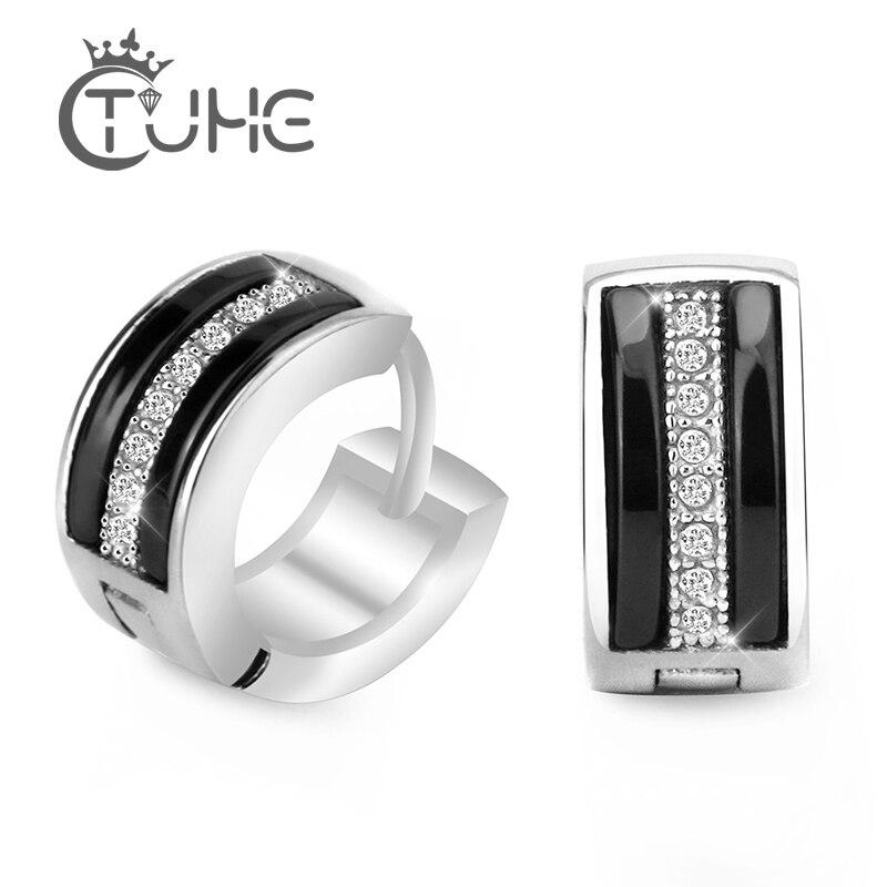 Punk masculino preto branco cerâmica hoop piercing brincos redondos com cristal natural para as mulheres moda jóias brincos unisex