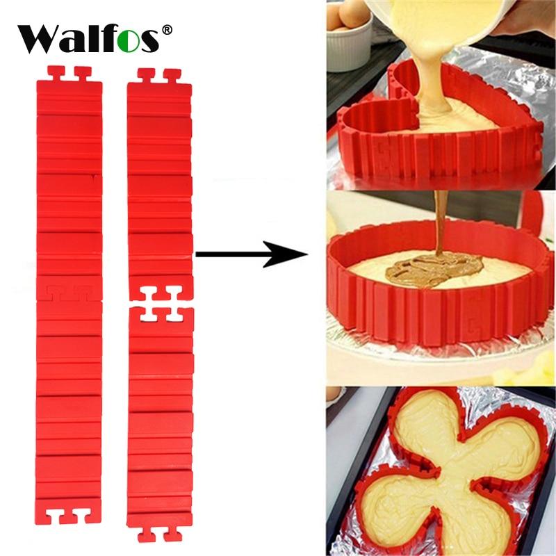 4 unids/set utensilios para hornear de silicona magia moldes de serpientes para tortas pan DIY hornear cuadrado rectangular en forma de corazón molde de tarta redonda repostería herramientas
