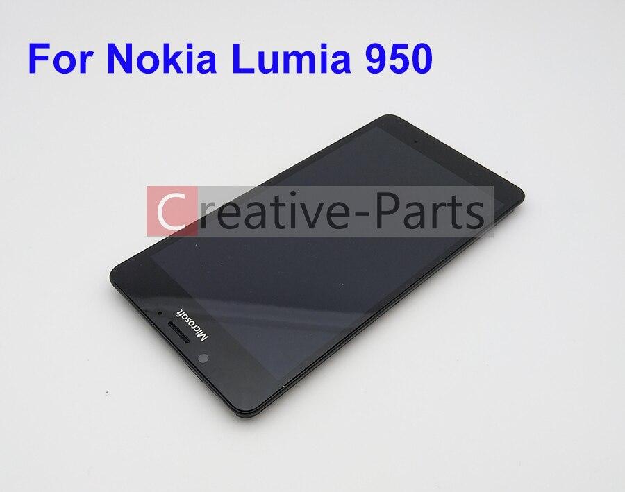 LCD Original para Nokia Lumia 950 Color negro con marco con piezas de repuesto de pantalla de montaje de digitalizador de cristal táctil