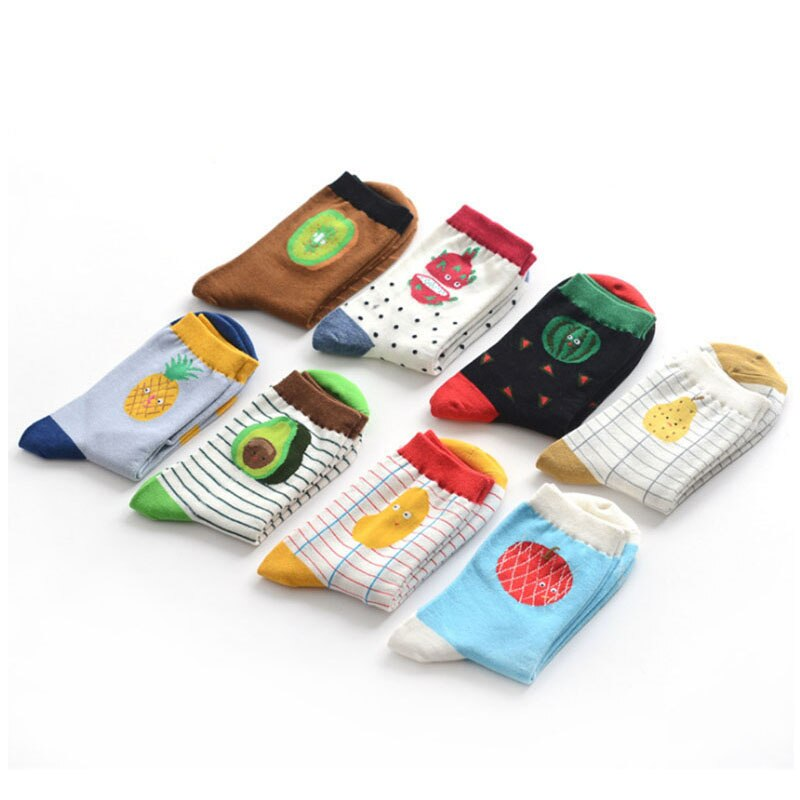 Recién llegado, calcetines de frutas para hombres y mujeres, moda Casual, Harajuku estilo lindo, algodón, diseño de piña, calcetines con sandías