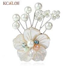 KCALOE Simulierte Perle Pins Und Broschen Hochzeit Braut Party Hijab Pin Natürliche Shell Großen Blumen Brosche Alfileres y Broches