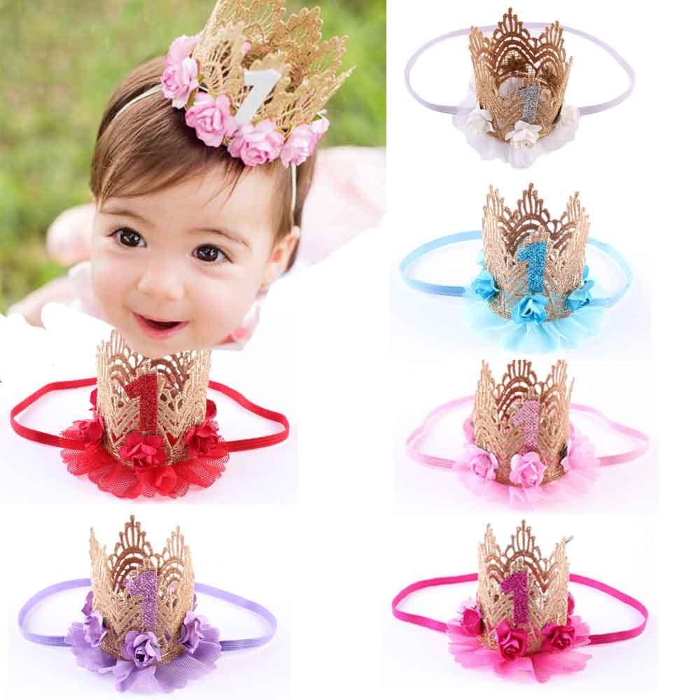 Dejorchicoco moda niñas bebé brillante Linda banda para el pelo princesa elástico flor corona gorro de encaje para accesorios de fiesta de boda