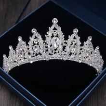 Barroco luxo strass grânulos nupcial coroa tiaras prata cor cristal diadema tiaras noiva headbands casamento acessórios de cabelo