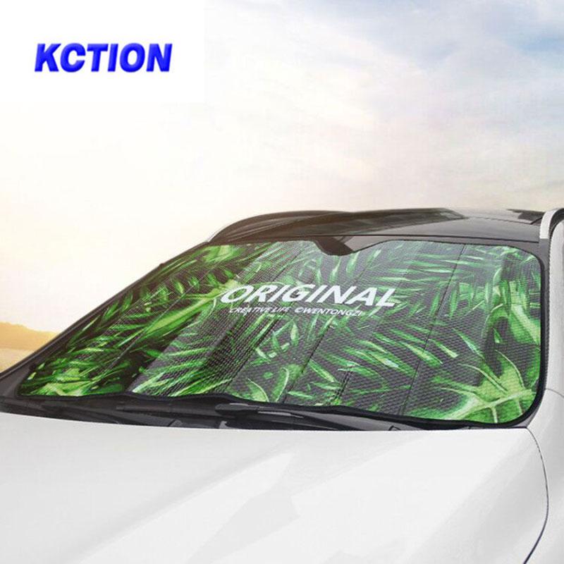 Cubiertas de parasol de coche Kction, parasol delantero para coche, película para parabrisas, visor, cubierta reflector de protección UV nissan kia vw passat jeep bmw