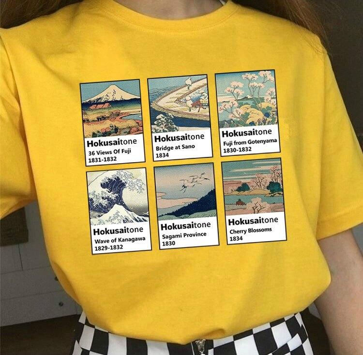kuakuayu HJN Katsushika Hokusai Painting T Shirt Japanese Vintage Style 3D Printed Tees Funny Cotton Tops