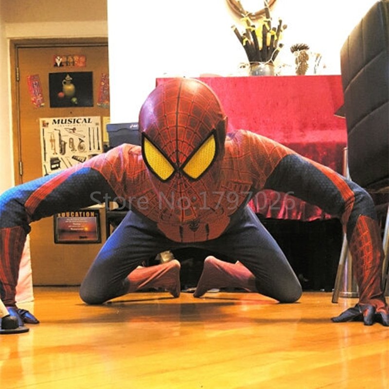 Handmade Halloween Superhero Aveners Movie Spiderman 2 Zentai Suits Women Men Kids Spiderman Costume With Eyemask/Shoes