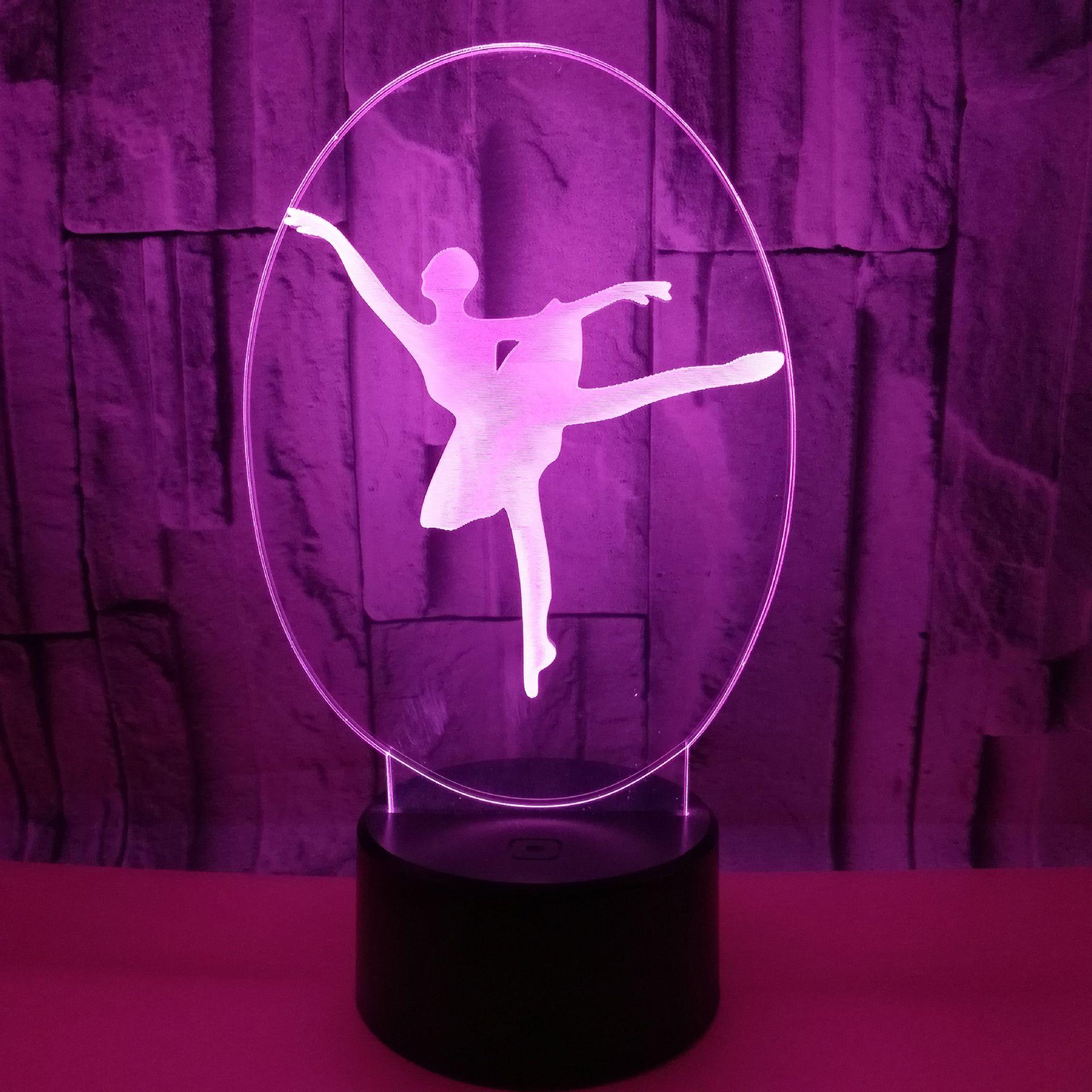 Regalos creativos calientes Ballet 3d pequeñas lámparas de mesa para sala de estar colorido Usb 3d pequeña lectura noche lámpara de escritorio Luz