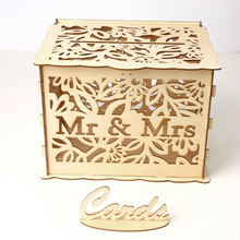 Mr Mrs Leaf DIY Wedding Gift Card Box Wooden Money Box with Lock Storage Boxes Gift for Birthday Party Wedding Decoration