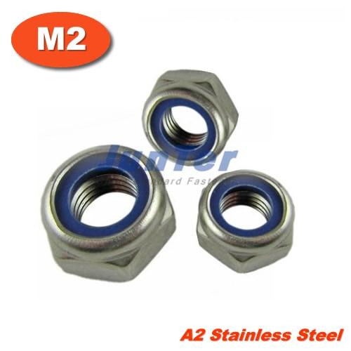 500pcs/lot DIN985 M2 Stainless Steel A2 Nylon Lock Nut