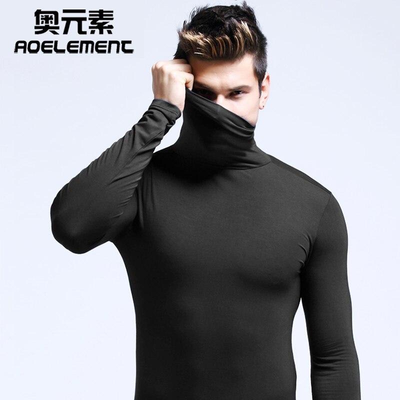 Modal men's high collar lapel underwear long-sleeved bottoming shirt autumn and winter  shirt  men t