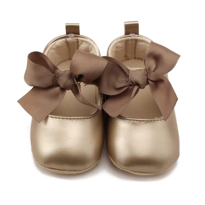 Chaussures souples pour bébés filles   En polyuréthane, Bandage à nœud, enfant en bas âge princesse Prewalker 0-18M, nouveau