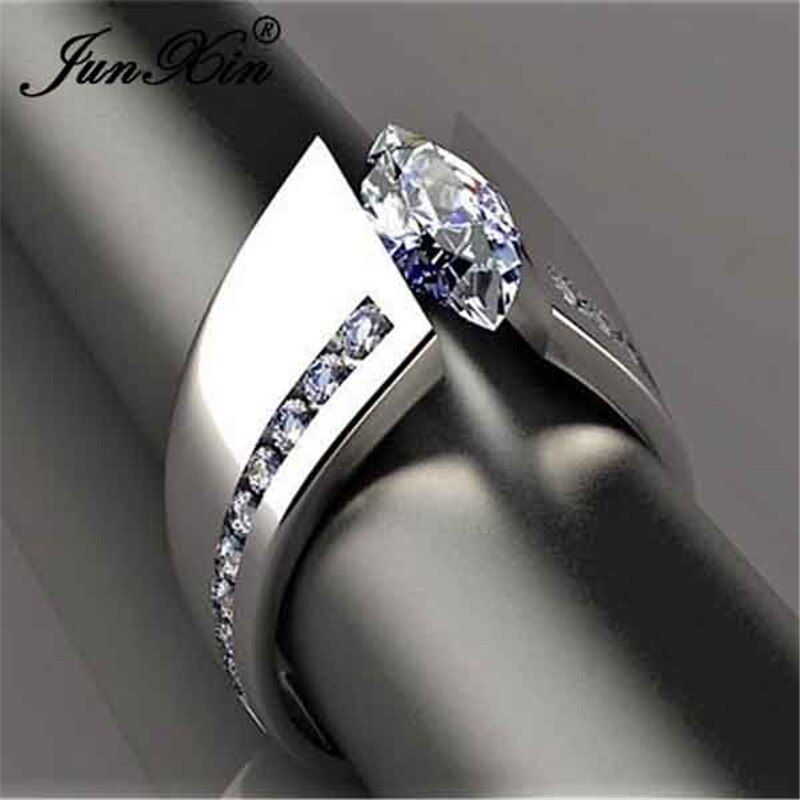Marquesa, anillos de piedra con forma de ojo de caballo de cristal cortado para mujeres, Color plateado, Zirconia blanca, bandas de boda, compromiso, anillo