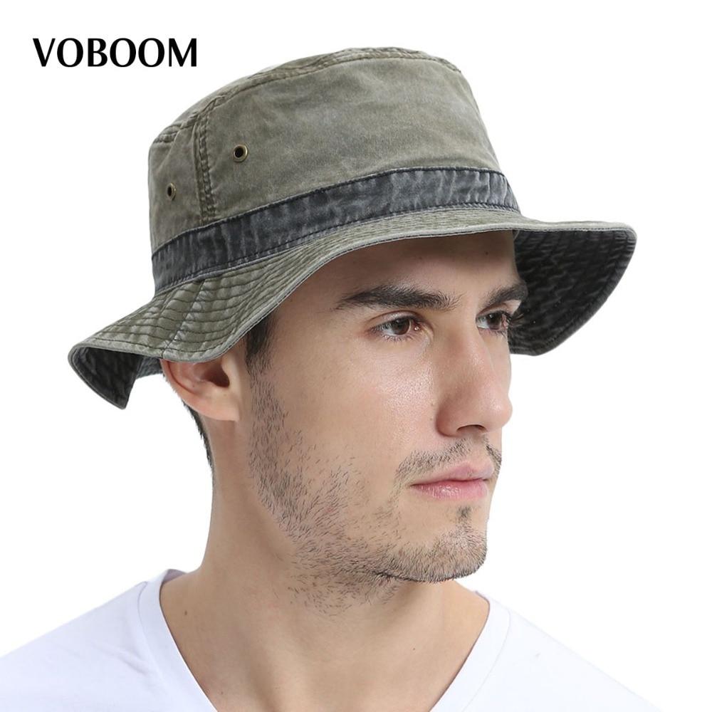 VOBOOM Summer Bucket Hats Men Fishing Hat Light Cotton Panama Sun Protection Male Cap Hiking Sombrero Wide Brim Caps 139