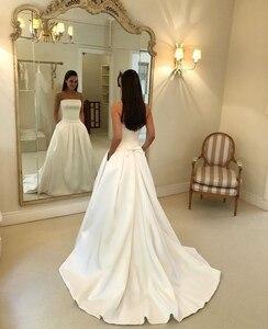 Vestidos De Novia Simple Strapless Ivory Wedding Dresses 2019 Bow Sashes Satin Bridal Wedding Gowns Bride Dress Robe De Mariage