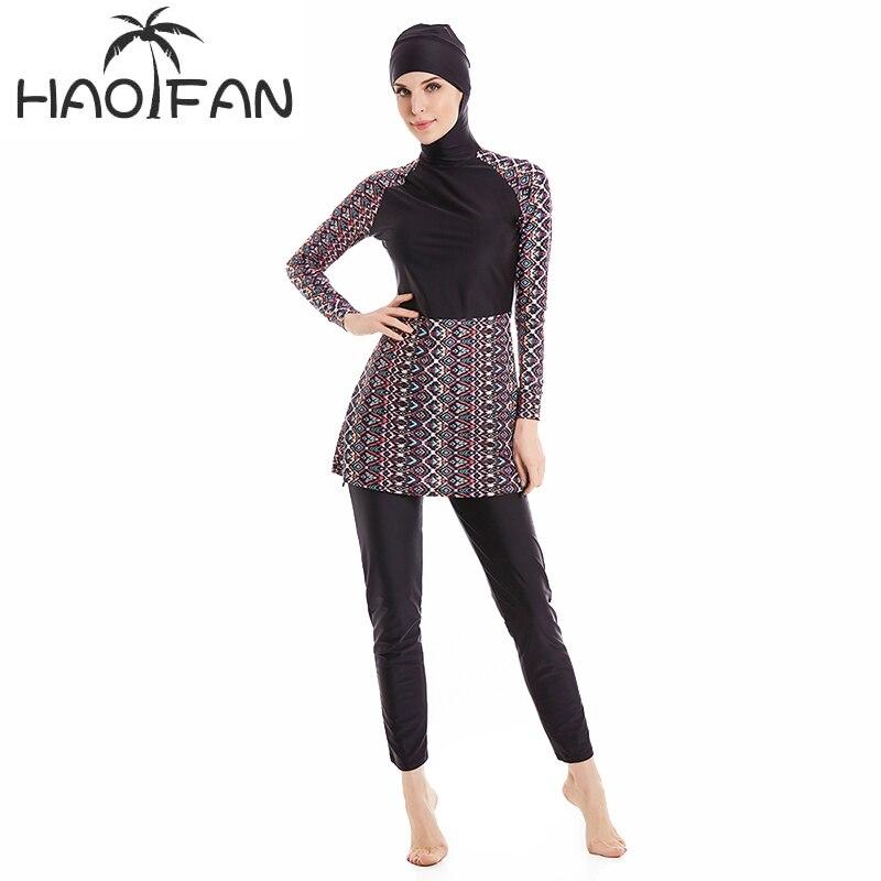 Haofan muçulmano roupa de banho islâmica mulher modesta hijab mais tamanho burkinis usar natação maiô praia cobertura completa 6xl
