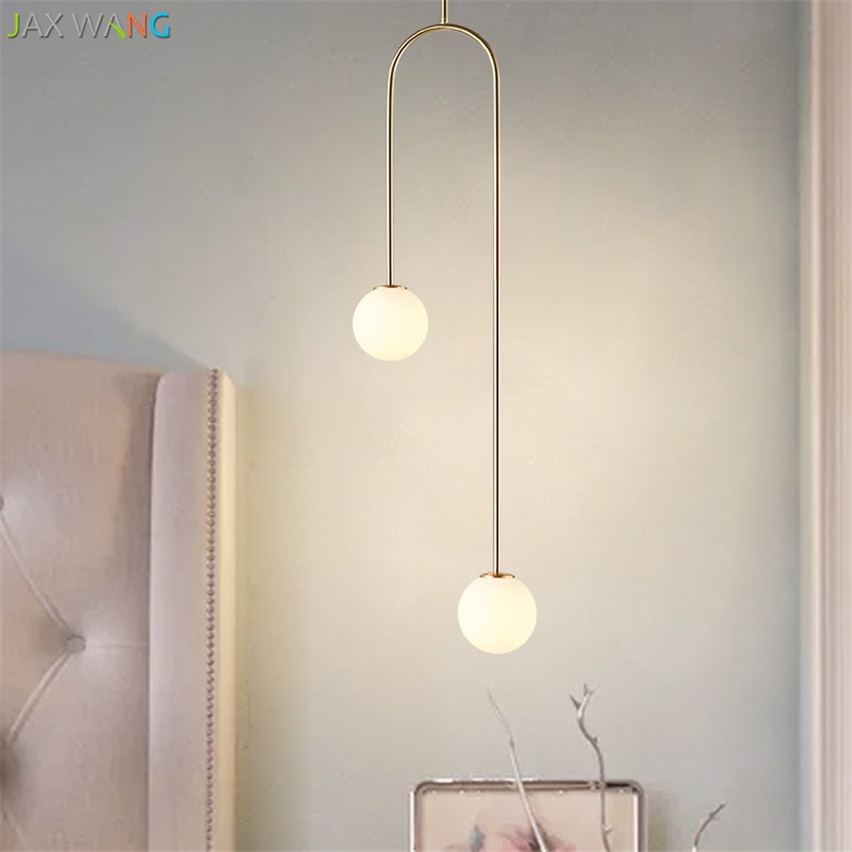 Купить с кэшбэком Nordic design Pendant Lights for Living Dining Room kitchen lamparas Bedside U Shaped Led Glass Ball Warm modern light fixtures