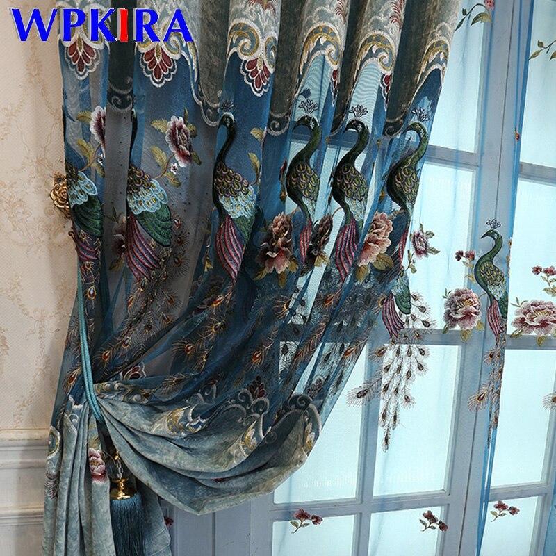 Paons de luxe broderie rideaux pour salon chambre Chenille évider fenêtre rideaux bleu Beige rideaux occultants M0434