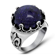 Anneaux de gravier bleu uniques pour hommes anneaux de croix en pierre de ciel étoilé couleur argent