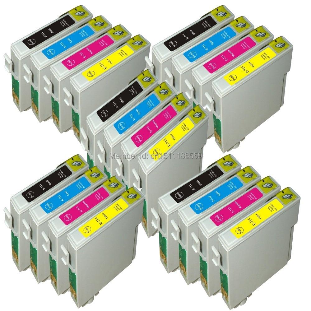 20x cartucho de tinta Compatible T0711 ~ T0714 (5BK, 5C, 5 M, 5Y) para Epson Stylus DX4400/D120/DX7450/DX8450/DX8400