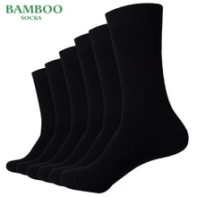 Match-Up Mannen Bamboe Zwarte Sokken Ademend Zakelijke Kleding Sokken (6 Paren/partij)