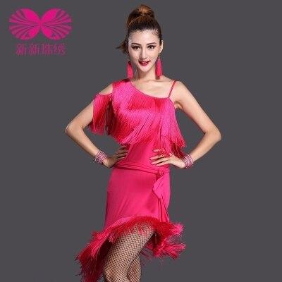 Nuevo señoras mujeres es flecos Latina Salsa vestido de Tango vestido de baile de salón de baile latino borla falda traje 3 colores envío gratis