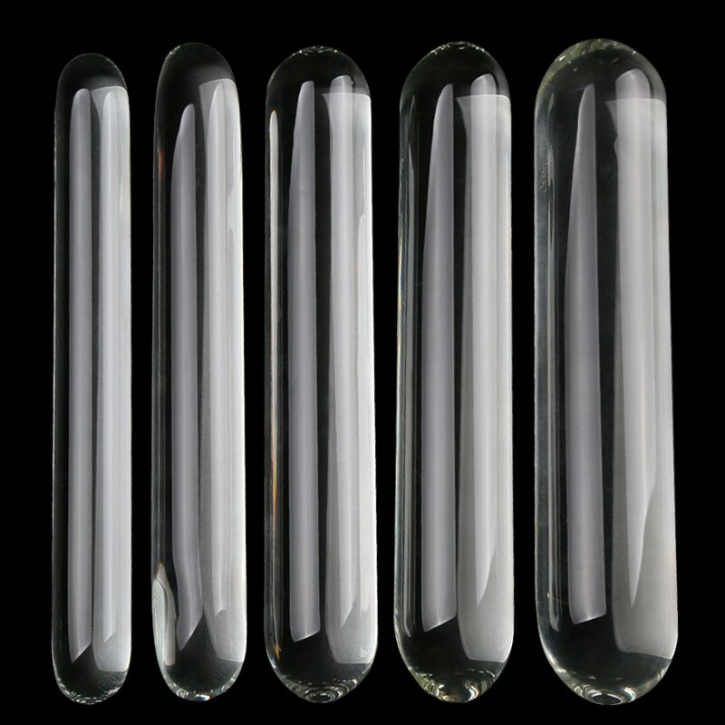 Consolador doble de vidrio de cilindro liso gran tamaño de vidrio transparente grande pene Anal Plug G punto estimulador consoladores para mujeres juguete sexual para lesbianas
