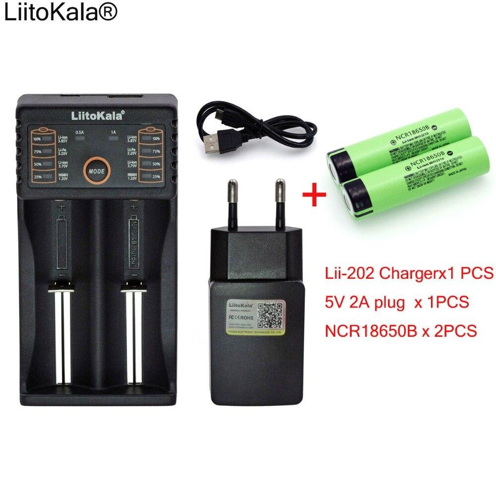 Liitokala Lii-202 1.2V 3.7V AA 18650 Charger 5V 2A Plug+2PCS New NCR18650B 3400mAh 18650 Rechargeable Battery