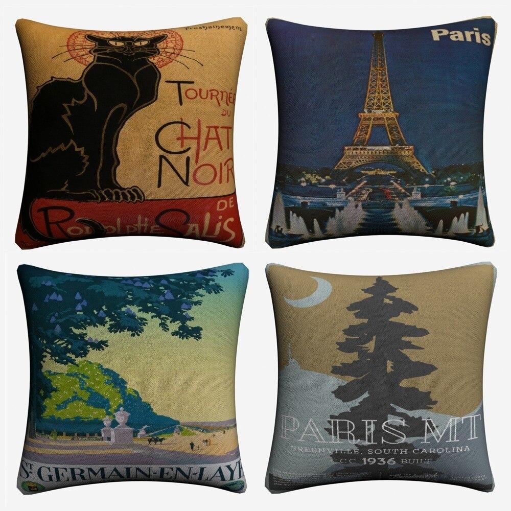 Paris Vintage Original Artwork Decorative Cotton Linen Cushion Cover 45x45cm For Sofa Chair Pillow Case Home Decor Almofada