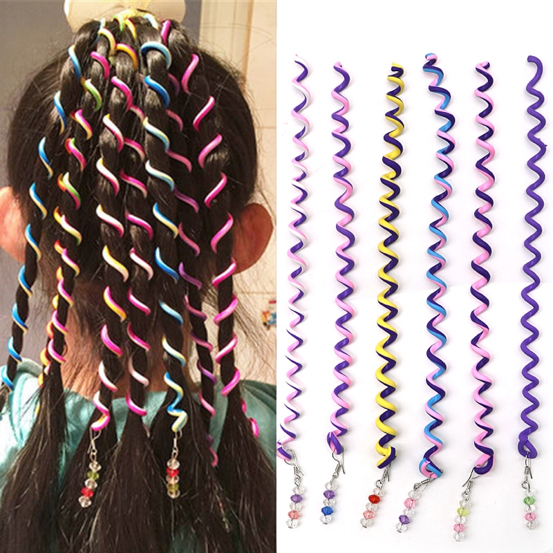 6 pçs/lote Colorido de Cristal Faixa De Cabelo Headband Bonito Meninas Longas Faixas de Cabelo Headwear Acessórios Para o Cabelo Crianças Hair Styling Ferramenta