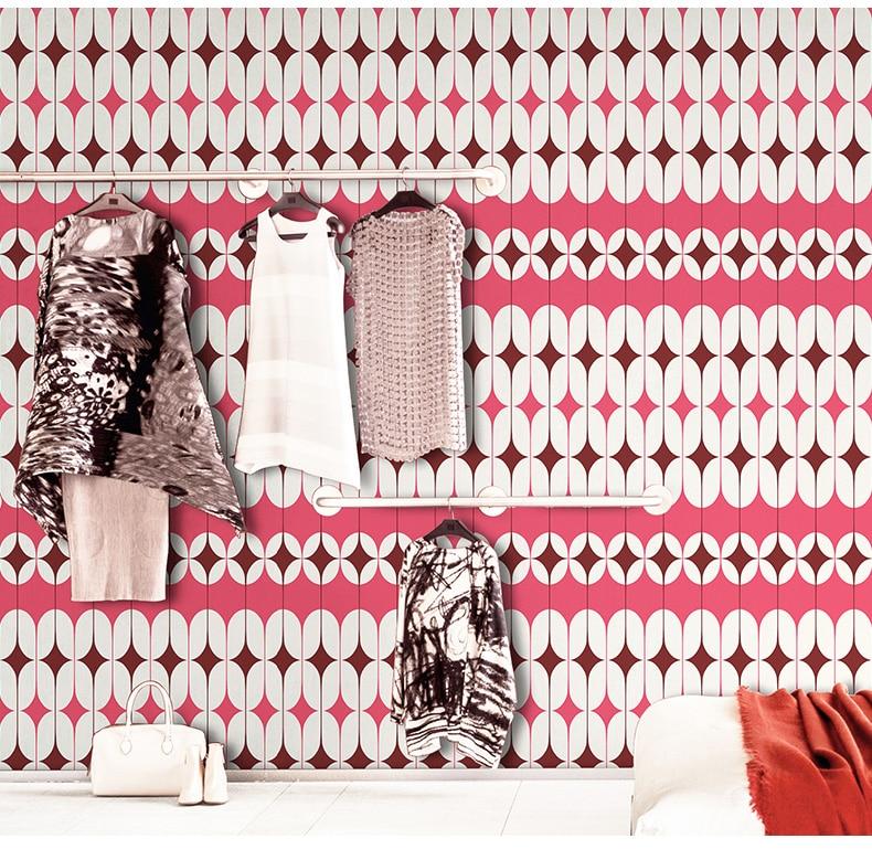 Nordic Pink Blue Gemetric Wall paper Living Room Home Decor PVC Waterproof Paper Roll Bedroom Children